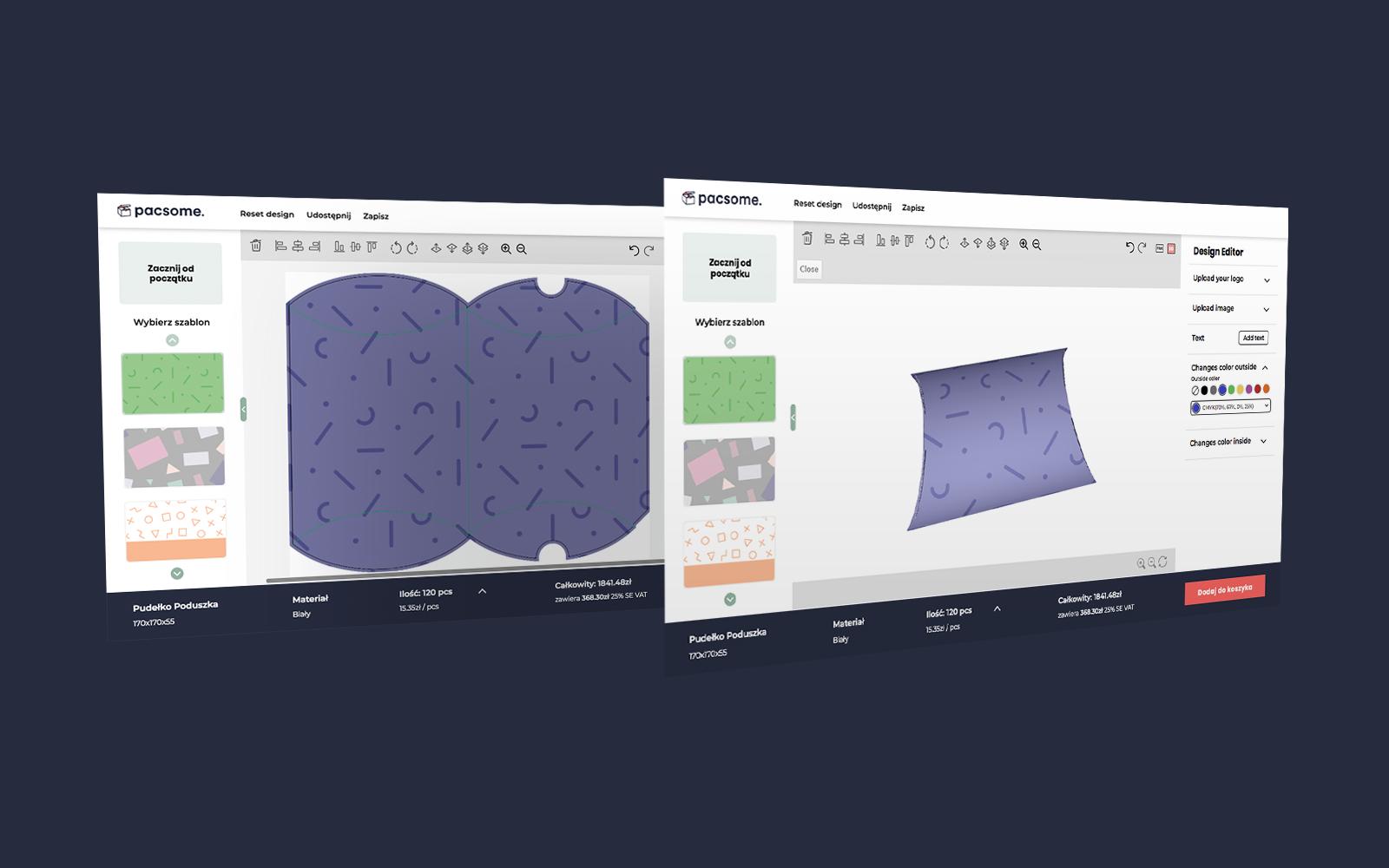 projekt produktu w wersji płaskiej oraz 3D