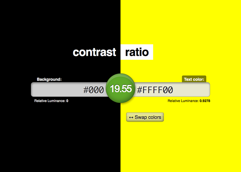 Online tool to check contrast ratio required by WCAG 2.1
