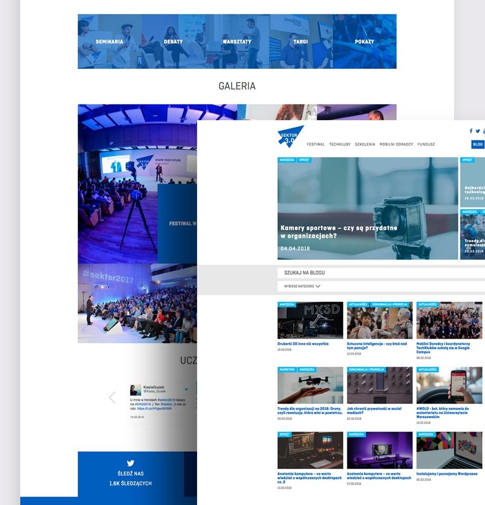 Fragment layoutu Bloga i Festiwalu