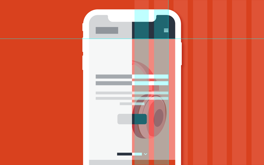 Illustration of a smartphone schematically showing the difference between UX and UI design.